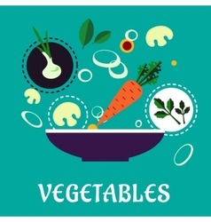 Flat vegetarian salad with fresh vegetables vector