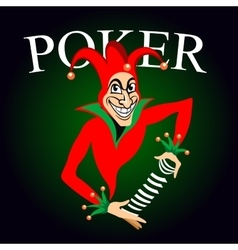 Poker emblem with joker and playing cards vector