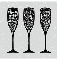 Champagne new years lettering vector