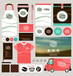 Concept for coffee shop identity mock up template vector