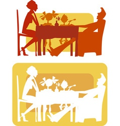 family breakfast vector image