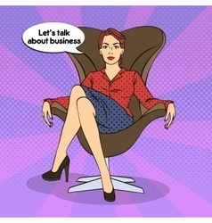 Successful business woman pop art vector