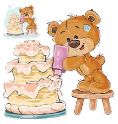 A brown teddy bear makes a vector