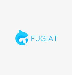 abstract fish drop logo design flat round vector image vector image