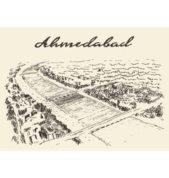 Ahmedabad skyline drawn sketch vector image vector image
