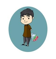 boy flower vector image vector image