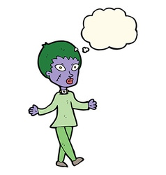 Cartoon halloween zombie woman with thought bubble vector