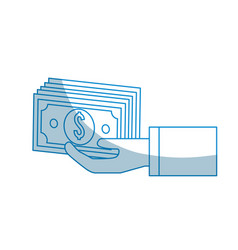 Contour hand with bill money vector