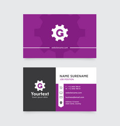 creative business card design with purple color vector image