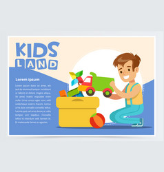 cute boy putting his toys in special box teenager vector image