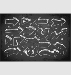 Doodle sketch arrows hand drawn with white chalks vector