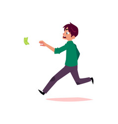 Flat office worker man running for money vector