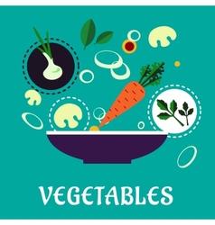 Flat vegetarian salad with fresh vegetables vector
