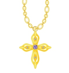 Gold chain with cross with diamond vector