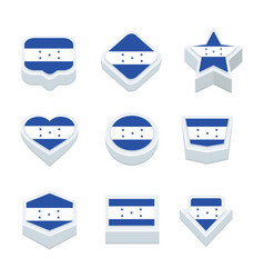 Honduras flags icons and button set nine styles vector