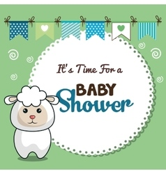 invitation baby shower card with sheep desing vector image vector image