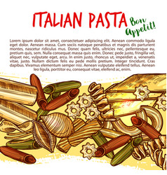 Italian pasta shapes poster with spaghetti sketch vector