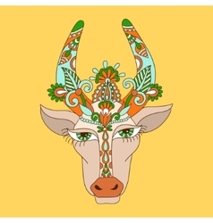 Line decorative drawing of indian cow head floral vector