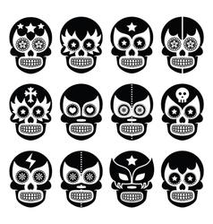 Lucha Libre - Mexican sugar skull masks black icon vector image vector image