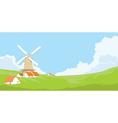 Mill with clouds vector image vector image