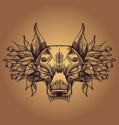 muzzle of a wolf is an for creating sketches of vector image vector image