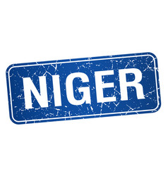 Niger blue stamp isolated on white background vector