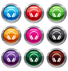 Protective headphones set 9 collection vector