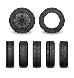 realistic tires set car tires with vector image vector image