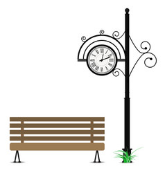Retro clock and wooden bench vector