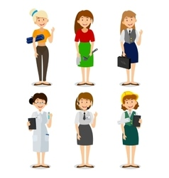 Set of colorful profession woman flat style icons vector image