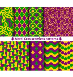 Set of seamless patterns for mardi gras vector