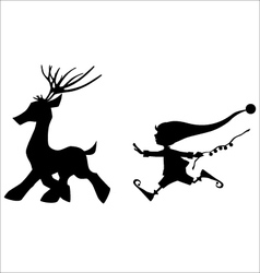 Silhouette running deer and cute christmas elf vector image
