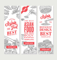 Sketch asian food vertical banners vector