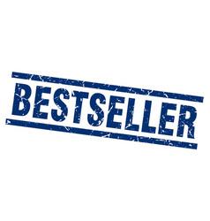Square grunge blue bestseller stamp vector
