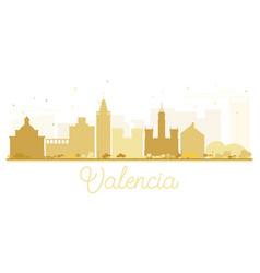 Valencia city skyline golden silhouette vector