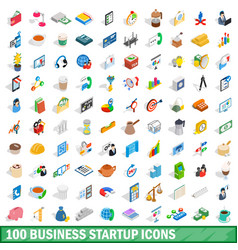 100 business startup icons set isometric 3d style vector