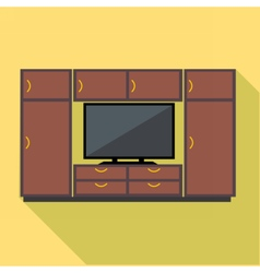 Digital brown cabinet furniture and tv set vector