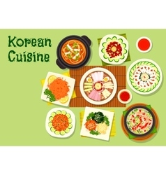Korean cuisine dishes icon for asian menu design vector