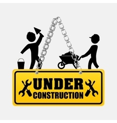 under construction men workers walking helmet vector image