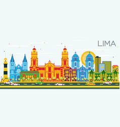 Lima skyline with color buildings and blue sky vector