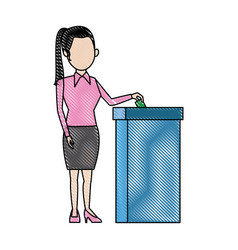 Woman putting voting paper in the ballot box vector