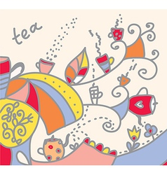 Tea background with cups and flowers vector image