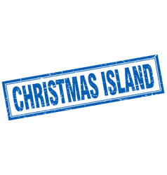 Christmas island blue square grunge stamp on white vector