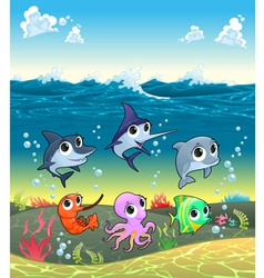 Funny marine animals on the ocean floor vector