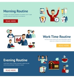Businessman daily routine concept banners vector