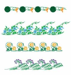 Floral border collection vector