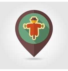 Scarecrow flat mapping pin icon with long shadow vector