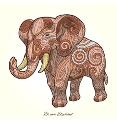 Elephant brown ornament ethnic vector
