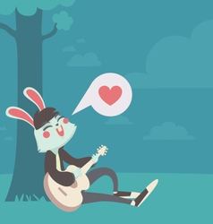 Bunny in love singing under the tree vector