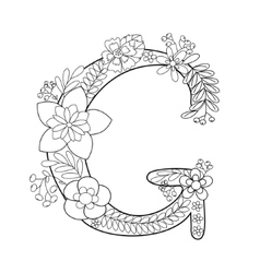 Letter G coloring book for adults vector image